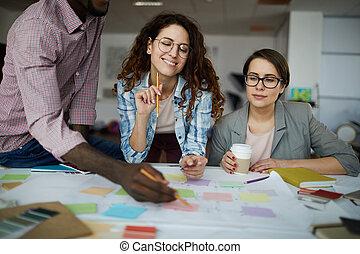 planowanie, praca, rówieśnik, handlowy zaprzęg