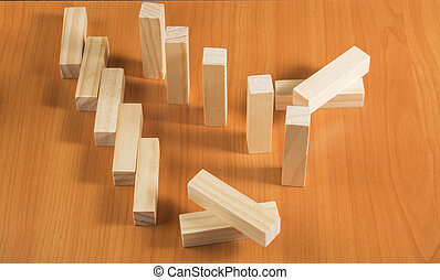planowanie, ryzyko, i, strategia, w, handlowy, wieża, drewniane kloce