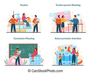 planowanie, set., program, nauczyciel, spotkanie, pojęcie, profesor