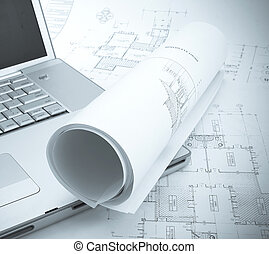 plans and laptop