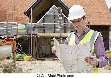 plans bâtiment, maison, site, regarder, architecte