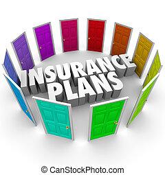 plans, beaucoup, choix, options, santé, portes, assurance,...