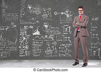 plans, business, mur, grand, devant, homme