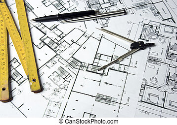 plans - some building plans with pen or pencil