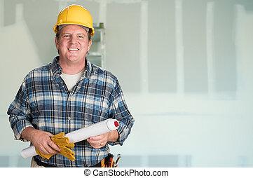 plans, dur, entrepreneur, drywall., devant, chapeau