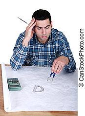 plans., el suyo, arquitecto, trabajando