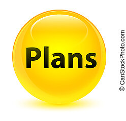Plans glassy yellow round button