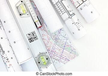 plans, niveau, rouleaux, construction, architecte, lieu travail, esprit, modèles