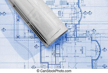 plans - blueprints on table ,
