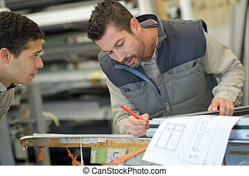 plans, regarder, ingénieur, industriel