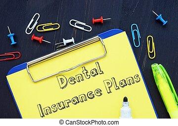 plans., schrijvende , hand, het tonen, dentale verzekering, conceptueel
