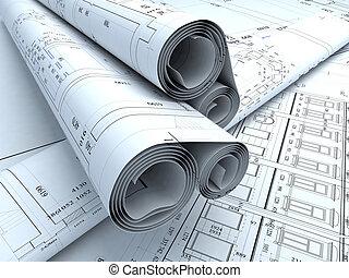 plans - Architecture plans in auto cad. 3d render