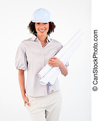 plans, tenue, femme souriante, architecte
