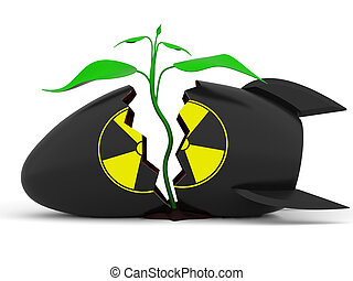 Plant growing through atomic bomb rendered with realistic shadows on white background