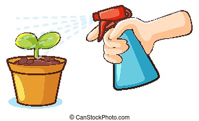 Plant and spray bottle on white background