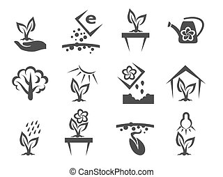 Plant and sprout growing vector icons set. Nature and grow,...