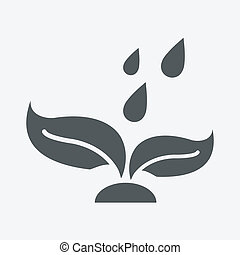 plant and water drop icon