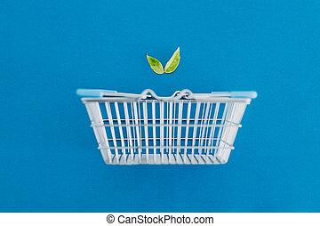 plant-based, metafora, prodotti, foglie, shopping, eco-amichevole, cesto, dieta, vegan
