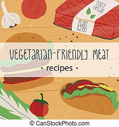 Plant-based, vegetarian meat recipes banner. Vegetable burger, taco with vegan mince, patties and mince pack.