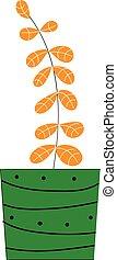 plant, binnen, illustratie, leavess, vector, groene achtergrond, sinaasappel, witte , pot
