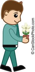 plant, bloem, vasthouden, minuscuul, man