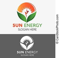plant, boerderij, zon, op, vector, ontwerp, mal, logo, abstract