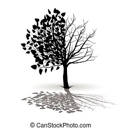 plant, boompje, silhouette