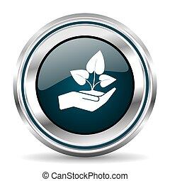 Plant care hand vector icon. Chrome border round web button....