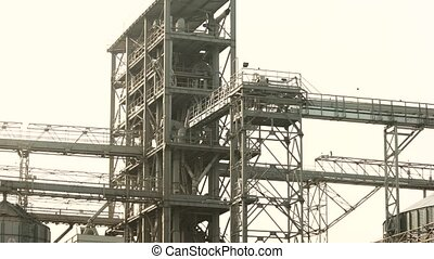 Plant construction of a large factory. Steel metal...
