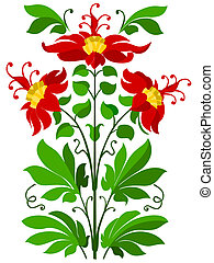 PLANT - plant with three blooms, gree, talk, graphics,