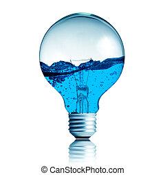 plant, eco, licht, energie, concept, groene, groeiende, bol,...