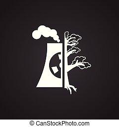 plant, ecologie, macht, nucleair, zwarte achtergrond, pictogram