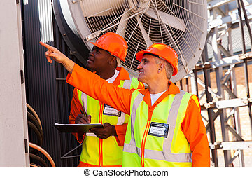 plant, elektromonteur, macht, werkende , jonge, technicus, senior