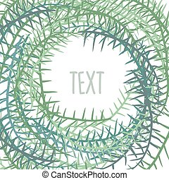 Plant frame with space for text. Algae in a circle. Vector illustration
