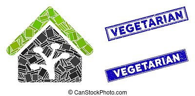 Plant Glasshouse Mosaic and Scratched Rectangle Vegetarian Stamp Seals