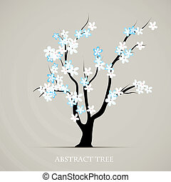 plant, grafisch, blossom , abstract, boompje, lente, vector, achtergrond, art.