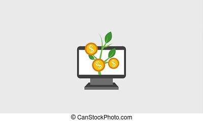 plant, groei, muntjes, geld, in, computer