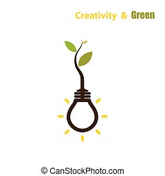 Plant growing inside the light bulb.Green eco energy concept.Tree of knowledge concept. Education and business sign.