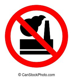 Plant harmful emissions into atmosphere stop forbidden prohibition sign