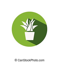 Plant. Icon on a green circle. Nature vector illustration