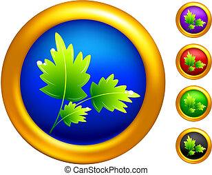 plant icon on buttons with golden borders