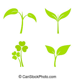 Plant icons - Set of four plant or leaf icons. Vector ...