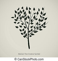 plant, illustration., natuur, abstract, boompje, vector, ontwerp, symbool