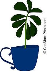 Plant in blue pot, illustration, vector on white background.