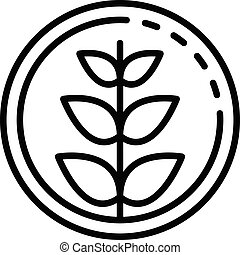 Plant in circle icon, outline style