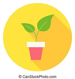 Plant in Flower Pot Circle Icon