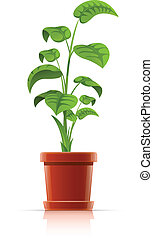 plant in flowerpot vector illustration isolated on white...