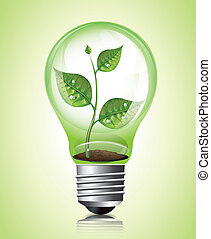 Plant in Light Bulb