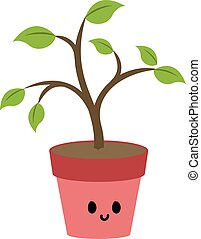 Plant in pink pot, illustration, vector on white background.