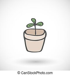Plant in pot. Vector illustration